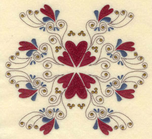 """Embroidery Design: Large hearts and swirls 6.75""""w X 6.25""""h"""