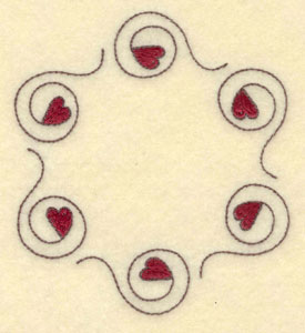 """Embroidery Design: Circle of hearts3.69""""w X 4.11""""h"""