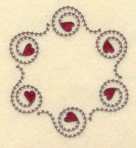 """Embroidery Design: Circle of hearts with cross stitch swirl3.81""""w X 4.23""""h"""