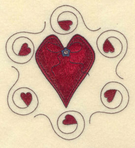 """Embroidery Design: Large heart with circle of hearts5.11""""w X 5.68""""h"""