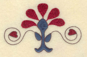 """Embroidery Design: Flower with heart and swirl    3.98""""w X 2.56""""h"""
