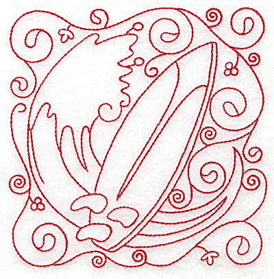 Embroidery Design: Surf board medium 4.75w X 4.80h