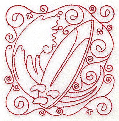 Embroidery Design: Surf board small 3.84w X 3.88h