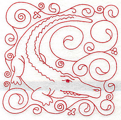 Embroidery Design: Crocodile large 5.98w X 6.00h