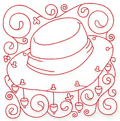 Embroidery Design: Akubra hat large 5.90w X 6.00h