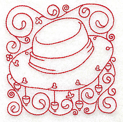 Embroidery Design: Akubra hat small 3.82w X 3.88h
