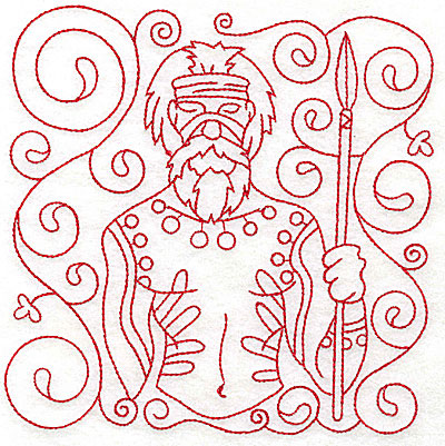 Embroidery Design: Aboriginal Tribesman large 5.97w X 6.00h