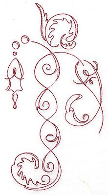 Embroidery Design: Art Deco 126 redwork 4.03w X 7.65h