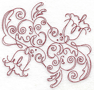 Embroidery Design: Art Deco 129 redwork 5.70w X 5.45h