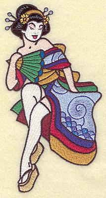 Embroidery Design: Geisha 3.52w X 6.88h
