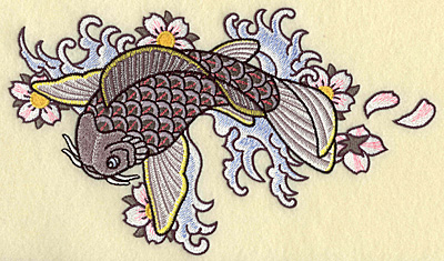 Embroidery Design: Koi waves and flowers 9.64w X 5.62h