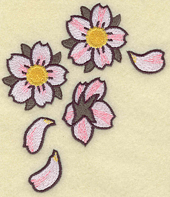 Embroidery Design: Cherry blossom cluster 4.13w X 4.76h