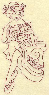 Embroidery Design: Geisha redwork 3.44w X 6.82h