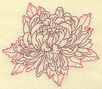 Embroidery Design: Chrysanthemum redwork  4.84w X 4.07h