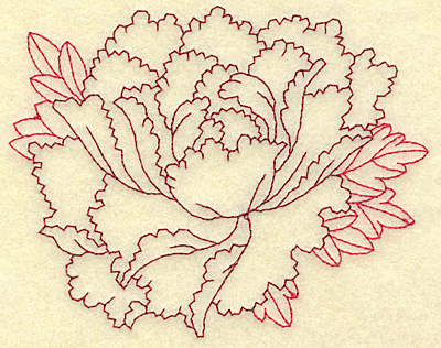 Embroidery Design: Peony redwork 4.66w X 3.70h
