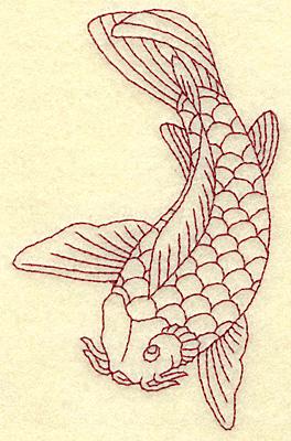 Embroidery Design: Koi redwork 2.86w X 4.52h