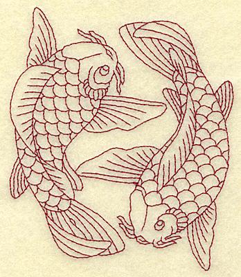 Embroidery Design: Koi duo redwork 4.04w X 4.79h