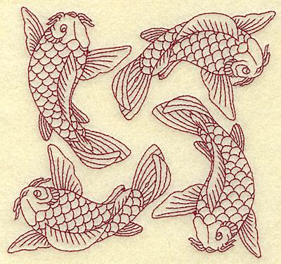 Embroidery Design: Koi four redwork 4.94w X 4.65h