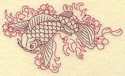 Embroidery Design: Koi waves and flowers redwork 4.93w X 2.88h
