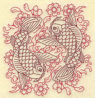 Embroidery Design: Koi duo waves flowers redwork 4.32w X 4. 59h