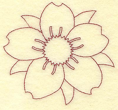 Embroidery Design: Cherry blossom A redwork 3.61w X 3.85h