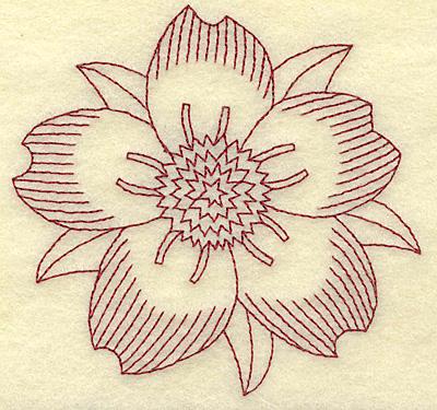Embroidery Design: Cherry blossom B redwork 3.69w X 3.84h