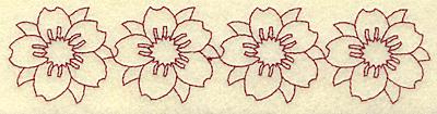 Embroidery Design: Cherry blossom border redwork 6.92w X 1.60h