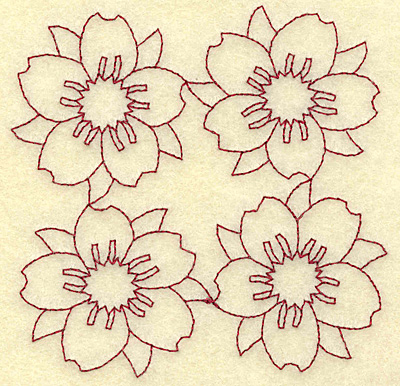 Embroidery Design: Cherry blossom four redwork 3.86w X 3.86h