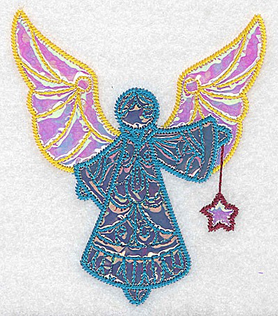 Embroidery Design: Angel 2 three applique fabrics 4.37w X 5.07h