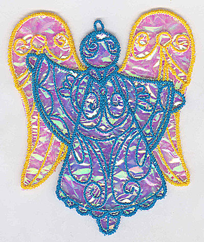 Embroidery Design: Angel 3a Ornament 4.19w X 5.08h