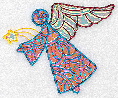 Embroidery Design: Angel 4 three applique fabrics 5.07w X 4.15h