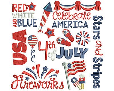 Embroidery Design: 4th of July Word Art 7.71w X 7.51h