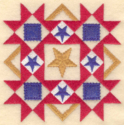 Embroidery Design: Five star diamond with blue applique sm5.00w X 5.00h