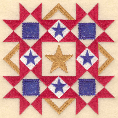 Embroidery Design: Five star diamond with blue applique lg6.00w X 6.00h
