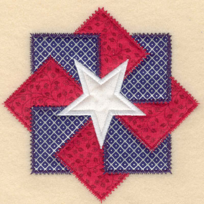 Embroidery Design: Center star with three appliques large 6.00w X 5.94h
