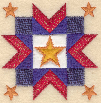 Embroidery Design: Five star design with four appliques small4.97w X 5.00h