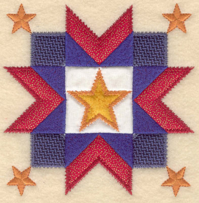 Embroidery Design: Five star design with four appliques large5.96w X 6.00h