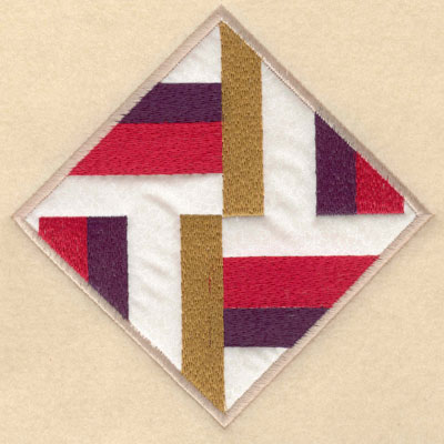 Embroidery Design: Diamond shape stripes with applique lg6.00w X 6.00h