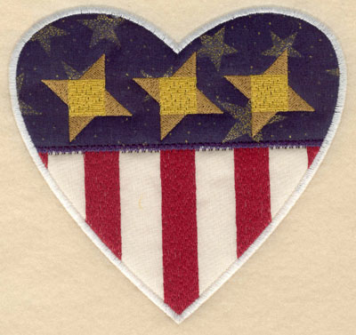 Embroidery Design: Heart shaped stars and stripes appliques lg6.00w X 5.72h