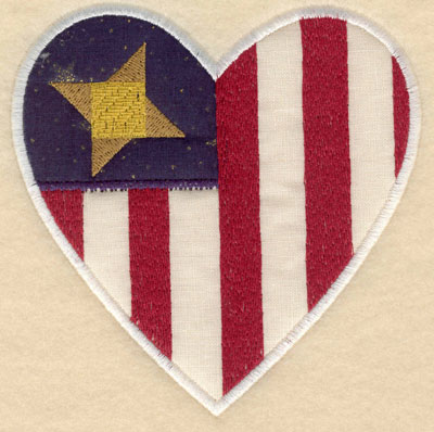 Embroidery Design: Heart shaped star with stripes appliques sm4.91w X 5.00h