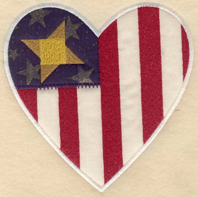 Embroidery Design: Heart shaped star with stripes appliques lg5.94w X 6.00h