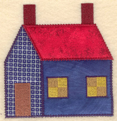 Embroidery Design: House with three appliques small4.90w X 5.00h