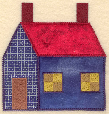 Embroidery Design: House with three appliques large 5.88w X 6.00h
