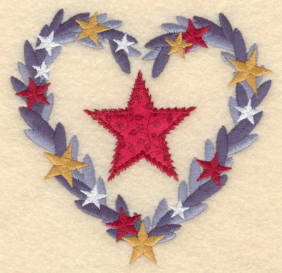 Embroidery Design: Applique star in heart shaped wreath small5.00w X 4.88h