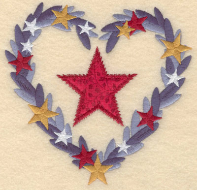 Embroidery Design: Applique star in heart shaped wreath large6.00w X 5.85h