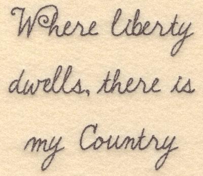 Embroidery Design: Where liberty dwells small5.00w X 4.43h