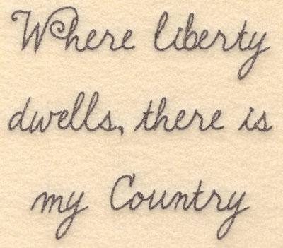 Embroidery Design: Where liberty dwells large6.00w X 5.32h