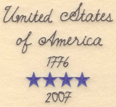 Embroidery Design: United States of America small5.00w X 4.62h