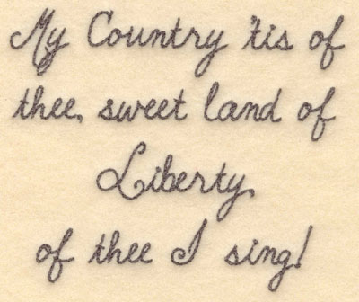 Embroidery Design: My country 'tis of thee small5.00w X 4.21h