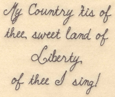 Embroidery Design: My country 'tis of thee large6.00w X 5.05h